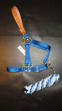 Mini Donkey Breakaway Halter with Snap, Blue w/Coordinating Lead. Made in Usa