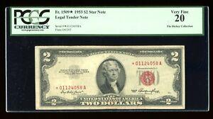 DBR 1953 $2 Legal STAR Fr. 1509* PCGS VF-20 Serial *01124058A