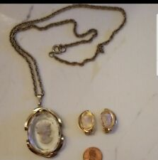 Vintage Clear Intaglio Cameo Necklace & Clipon Earrings Set