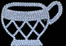 """PRONG SET RHINESTONE BUNCH PARTY DEMITASSE SAUCER TEA CUP PIN BROOCH JEWELRY 3"""""""
