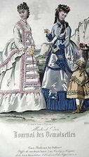 GRAVURE MODE ANCIENNE 19e - JOURNAL DES DEMOISELLES ETOFFES GRAND MARCHE PARIS