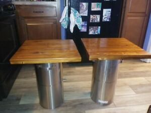 Cedar Top - Outdoor side tables handmade with stainless steel base