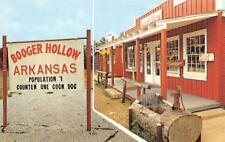 BOOGER HOLLOW Arkansas Town Sign Highway No. 7 Ozarks ca 1960s Vintage Postcard