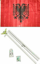 3x5 Albania Flag White Pole Kit Set 3'x5'