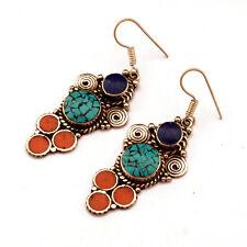 Turquoise Coral Lapis Earring Tibetan Nepalese Handmade Tibet Nepal ER1076
