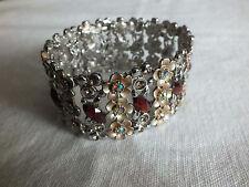 Beautiful Stretch Bracelet Silver Tone Beige Enamel AB & Amber Rhinestones WOW