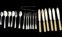 Collection of 19 pieces of antique silver plated cutlery as shown in the photos