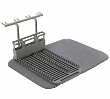 Umbra UDRY DISH RACK with DRYING MAT & Cutlery Glass Drainer Tidy CHARCOAL Grey