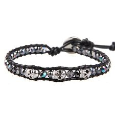 Charm Single Wrap Bracelet Obsidian Mixed Skull Cuff Bracelet Jewelry Bangle New
