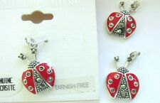 STERLING SILVER LADYBUG MARCASITE CHARMS (3) RED ENAMEL