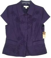 Coldwater Creek Women's Jacket Short Sleeve Shaped Purple Size 12 NWT