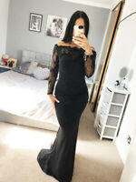 Sexy Black Bardot Lace Stunning Fishtail Dress Gown Long Maxi Evening Prom UK❤