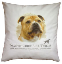 Staffordshire Bull Terrier Dog   100% Cotton Cushion Cover Zip   Howard Robinson