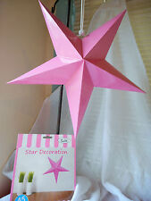 FIVE  PINK 45 CM HANRING STAR DECORATION GREAT FOR ANY PARTY OCCASIONS.