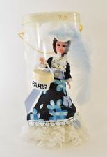 """7"""" Paris Doll Tall Sleepy Eyes Real Feather Blue Rare Vintage Collectible"""