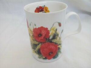 Tea/coffee mug by Roy Kirkham, bone china with red poppies design