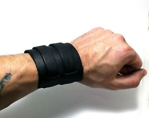 Aviator style men genuine leather wide cuff bracelet double buckled (fix wrist)