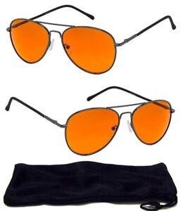 HD Vision Amber Blue Blocker Lens Glasses Night Driving Men's Aviator Sunglasses