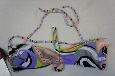 Bikini Top Sz L 99 Degrees Purple Multi Paisley Halter Swim Top