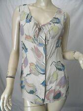 MARNI Ecru Blue/Green/Pink Floral Print Linen Blend Crepe Tank sz 44 US 8