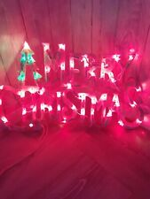 MERRY CHRISTMAS Light Up Sign Red Green Vintage Retro Xmas Indoor Decoration