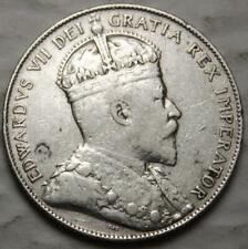 Newfoundland 1909 Silver 50 Cents, Nice Grade, Old Date King Edward VII