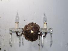 Antique Vintage Sconce Bronze Crystal 2 Light Crystals
