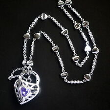 New 9K White Gold Filled Amethyst Crystal Filigree Heart Love Pendant Necklace