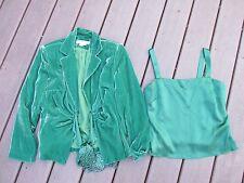 2 pc Kay Unger suit jacket blazer tank top emerald green size 8 euc