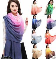New Fashion Women Lady Gradient Color Long Wrap Shawl Scarf Scarves Stole