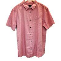 prAna Mens Sz XL Shirt Ecto Red Chevron Short Sleeve Button Front Organic Cotton