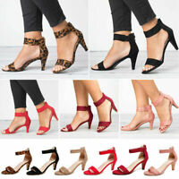 New Womens Kitten Mid Heels Ladies Ankle Strap Sandals Zipper Casual Shoes Size