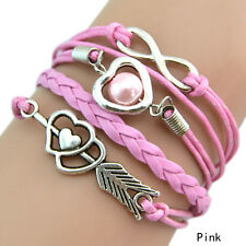 Infinity Love Heart Pearl Friendship Antique Silver Leather Charming Bracelet Pink
