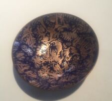 "Vintage MCM Modernist Enamel on Copper Abstract 3"" Dish Bowl Signed BP"