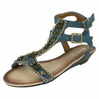 LADIES SPOT ON LOW WEDGE HEEL OPEN TOE BEADED ANKLE STRAP SUMMER SANDALS F1R868