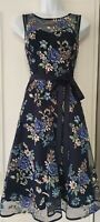Womens PHASE EIGHT Navy Blue Floral Netted Applique Occasion Flared Dress 10.