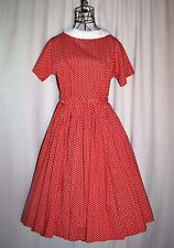 Vintage 1950s Maggi Maid of Lucerne Red & White Rockabilly Swing Dress Size 9