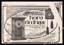 Publicité Pendule Horo Electrique clock Vintage Ad Advertising 1922