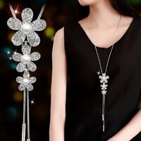 Women Crystal Pearl Leaves Flower Multilayer Pendant Necklace Long Chain Jewelry