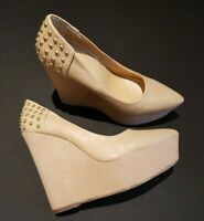 Fiore size 5 (38) beige faux suede / leather platform wedge heel court shoes