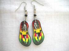 YOUNG BOB MARLEY DOUBLE PICTURE FLIP FLOP THONG SANDALS BEADED PAIR OF EARRINGS
