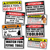 Toolbox Warning Sticker Pack Tool Box Shop Garage Mechanic Wall Door Sign Decal