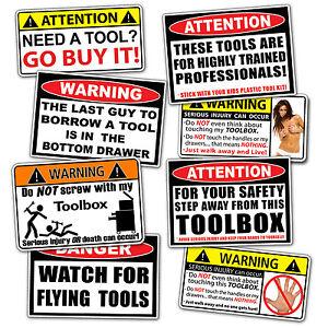 Toolbox Warning Sticker Pack Tool Box Shop Garage Mechanic Wall Door Sign Decal