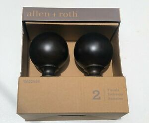 """Allen + Roth ESPRESSO BROWN Finish Curtain Wood  Rod Finials Fit 1 3/8"""" Rod Pack"""