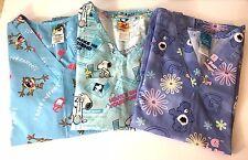 Novelty Scrub Tops Lot of 3 Snoopy TAZ Care Bears Short Sleeve Cotton Blend