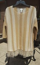 "Chico's Sz  0 womens sweater with fringe ""cute"""