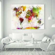 "World Map Watercolor Style Printing Art Home Decor Thin Silk Poster 46"" x 32"""