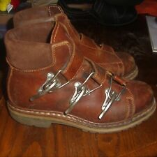 WOMENS VENTESIMA STRADA LEATHER ANKLE BOOTS HOOK CLOSE SIZE 37 US SIZE 6 1/2