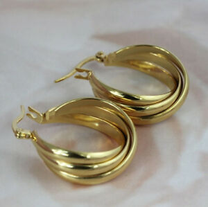 Elegant 925 Silver,Gold Hoop Earrings for Women Jewelry A Pair/set