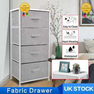 Fabric Chest of 4 Drawers Bedside Table Storage Unit Grey Bedroom Cabinet Stand